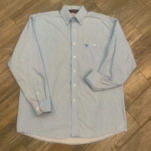 Wrangler George Strait Cowboy Blue Western Shirt M